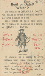 Advert for Quaker Oats, reverse side